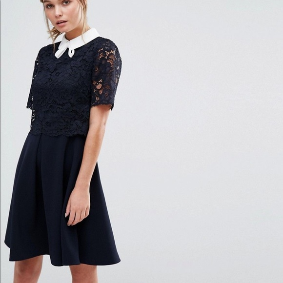 NWT Ted Baker Dixxy Lace Bodice Double Layer Dress